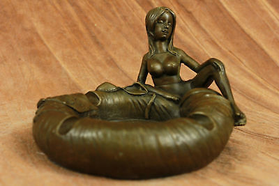 Lurking Nude Girl Ashtray Bronze Sculpture Handcrafted Original Statue Decor T