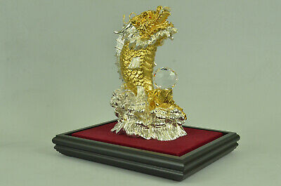 Chinese Zodiac Dragon Gold Plated Figurine Office Decoration Bronze Gift Art
