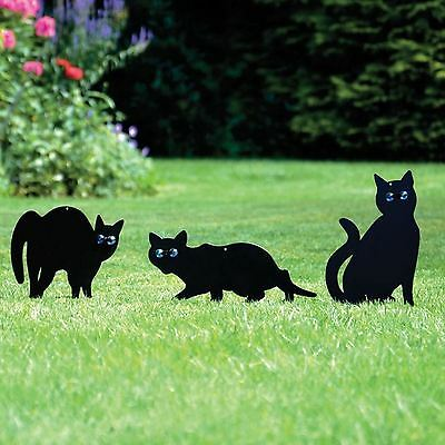 Pack Of 3 Metal Cat (Bird, Animal,fox, Pest) Scarers, Repeller, Deterrent Garden