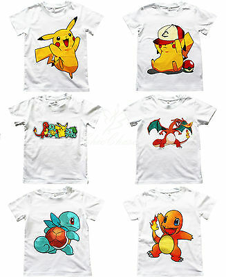 UK SELLER Pokemon Go Boys Girls Unisex Kids T Shirt Pikachu Charmander Charizard