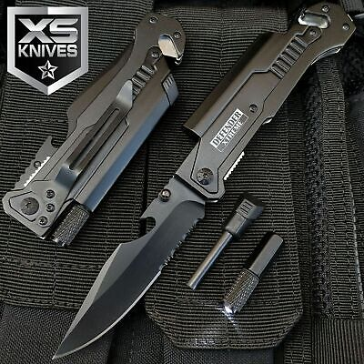 "8.75"" TACTICAL MULTI-FUNCTIONAL Spring Assisted Pocket Knife Outdoor Rescue"