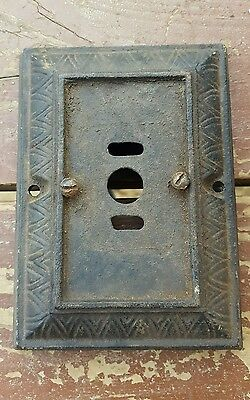 Vtg Antique Cast Iron Wall Sconce Porch Light Fixture Art Deco Ornate Base Only