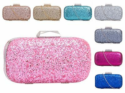 New Rose Gold Champagne Glitter Evening Clutch Bag Christmas Prom Party Box