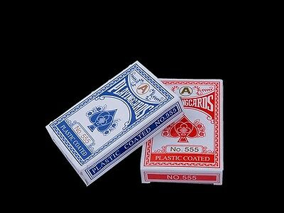 1 Decks of Professional Plastic Coated Playing Cards Poker Size - Red or Blue