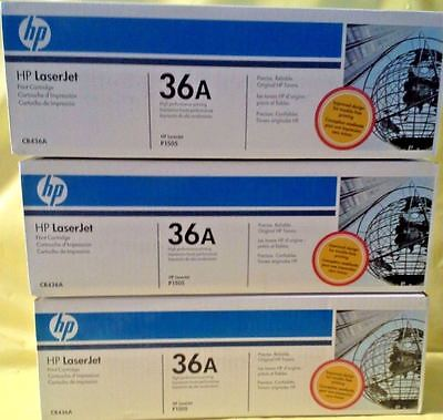 THREE 3 Factory Sealed New Genuine HP 36A Laser Cartridges Wht & Blue PACKAGING