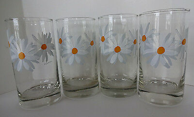 Vintage Federal Glass Co. Hand Painted Tumblers Daisies (4)