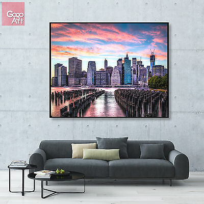 Canvas print wall art decor big poster modern New York City Manhattan bridge