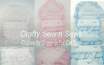 Baby - Broderie Anglaise  Buggy Cozy Toes or Car Seat Cozy Toes - Two Sizes