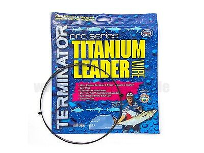 TERMINATOR SINGLE STRAND TITANIUM LEADER WIRE--25 Feet--Pick Line Class