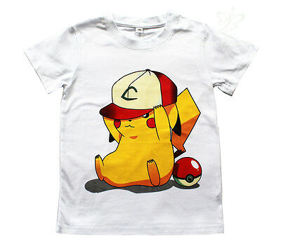 UK SELLER Pokemon Go Boys Girls Unisex Kids 100% Cotton T Shirt Pikachu 4-11Y