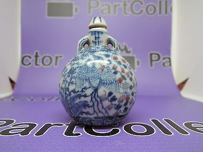 Antique Chinese Snuff Bottle Blue White Porcelain River Jade Qing Dynasty