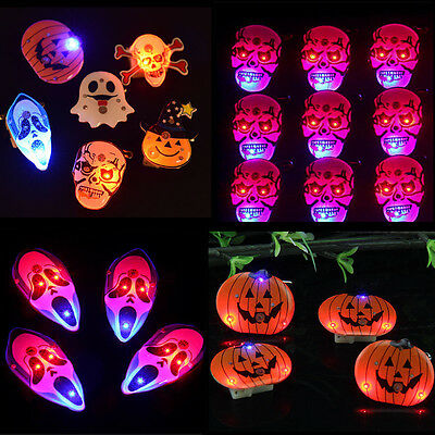 10/20Pcs Ghost Skull Pumpkin LED Flashing Lamp Halloween Brooch Badge Decoration