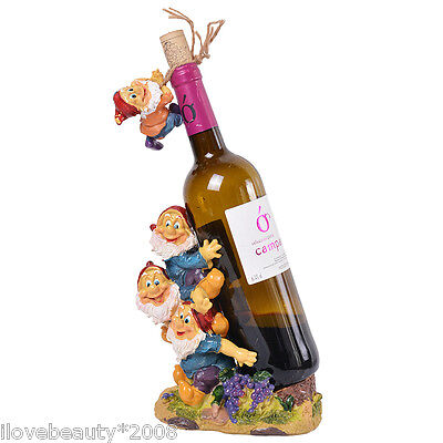 New Three Dwarfs Figurine Doll Red Wine Bottle Rack Holder Decorative Barware