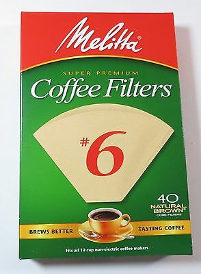 Melitta Cone Coffee Filters #6 40 count Natural Brown