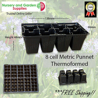 8 cell Seedling Punnet Metric CM8 Black Thermoformed Plastic Propagation