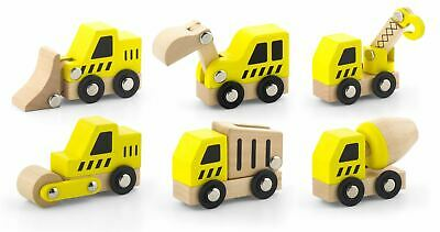 Viga Wooden CONSTRUCTION VEHICLE Roller Cement Truck Digger Dump Truck Toy Set