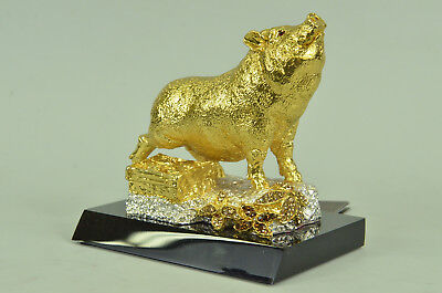 Generous Concentration Bronze Figurine Chinese Zodiac Diligent Gold Covered T