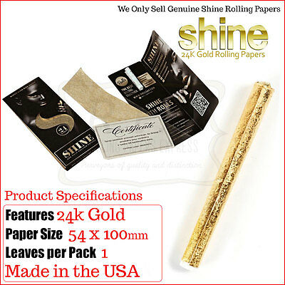 Shine 24k Gold King Size Rolling Paper VIP Pack - 1 -2 Packs & 3 Pack Deals
