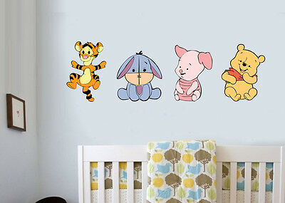Baby Winnie the Pooh Pack of 4 - Wall Art Stickers Piglet Tigger Bedroom Decals