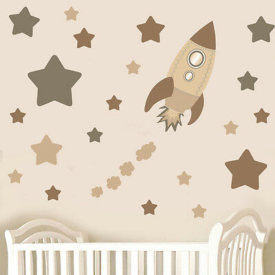 Childrens Brown Rocket Ship Space & Stars - Wall Art Stickers Decals Neutral