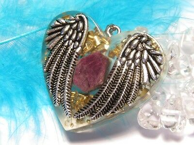 ORGONE PENDANT - Angel protection with raw ruby - love & passion & joy