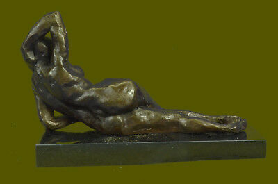 Abstract Sleeping Nude Woman Bronze After Henry Moore Sculpture Modern Art T