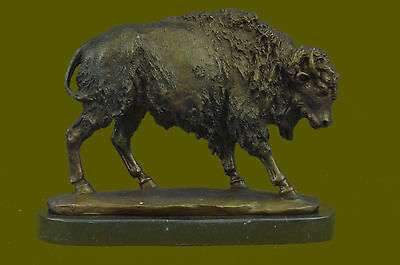 Buffalo Western Native American Gift 100% Bronze on Marble Statue Sculpture