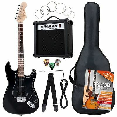 37534  - Pack Guitarra Electrica Negro Rocktile Power Pack Electric Guitar