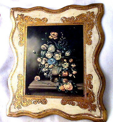 Vintage Lg Italian Florentine Tole Gilt Wood Wall Plaque French Floral Print