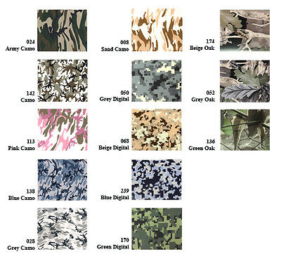 "15""x3ft Heat Transfer PU Vinyl Patterned Camo Prints for custom t-shirts, Press"