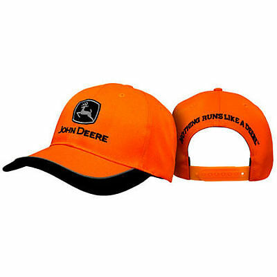 JOHN DEERE *BLAZE ORANGE w/Black Accent* Trademark Logo HAT CAP *BRAND NEW*