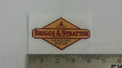 "Vintage Briggs & Stratton Gasoline Oil tan sticker decal 4""x2.4"""