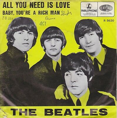 THE BEATLES - All You Need Is Love [Vinyl Single 7 Inch,1967] UK R 5620 Rare EXC