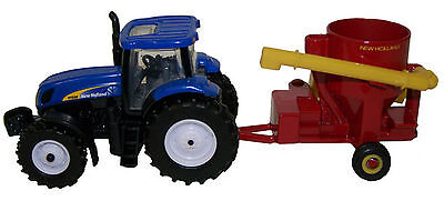 New Holland T7030 Tractor With Nh Grinder Mixer Diecast Scale 1/64 Ertl New