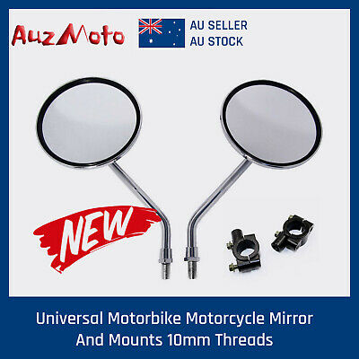 10mm Chrome  Side Rear View Mirrors + Adapters for Scooter Motorcycle Push Bike