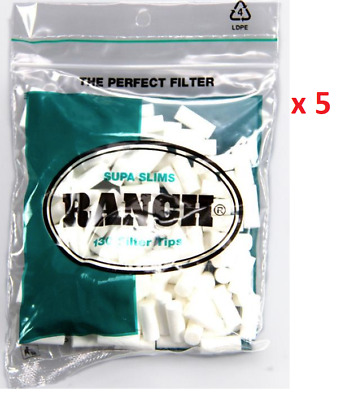 650 x Green Supa Slim Ranch Filter Tips Tobacco Cigarette Roller Rolling Paper