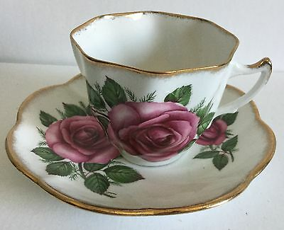 Imperial Tea Cup and Saucer Fine English China 22 Karat Gold Warranted