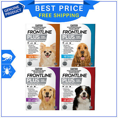 Frontline Plus Flea and Tick Treatment All sizes for Dogs 3 Pipettes