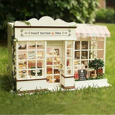 3D Miniature Sweet Berrier Time DIY Doll House Cafe Kit Music Box Control Light