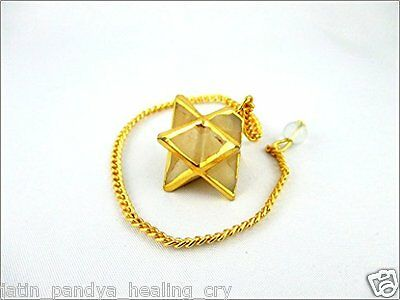 Jet Gold Plated Yellow Aventurine Star Merkaba Pendulum 1 inch Jet International
