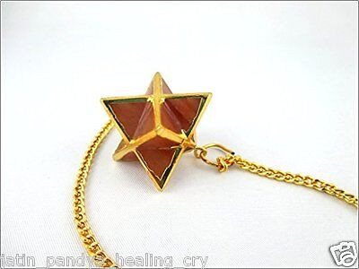 Jet Gold Plated Red Aventurine Star Merkaba Pendulum 1 inch Jet International