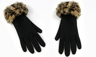 Womens Winter Gloves With Faux Leopard Fur Wrist Cuffs Ladies Assorted Colours