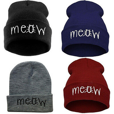 Unisex Winter Meow Letter Embroidery Warm Hip Hop Beanie Hat Knit Cap Glaring