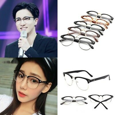 Men Women Vintage Round Half Frame Unisex Clear Lens Nerd Geek Glasses Eyewear
