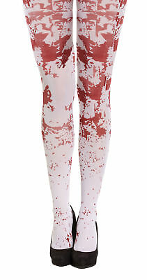 White Blood Splattered Tights Halloween Fancy Dress Accessory