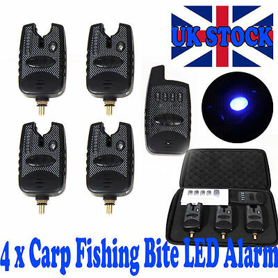 Wireless Waterproof 2/3/4 Bite Alarms+Dropback Running LED Carp Receiver+Case UK