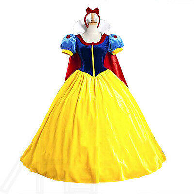 Adult Snow White Dresses Costume Womens Christmas Cosplay Fairytale Fancy Dress