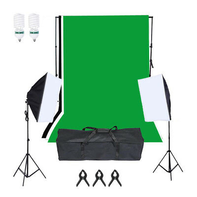 PhotR 2000W Photo Studio Background Lighting Kit Softbox Backdrop Stand Bulb Set