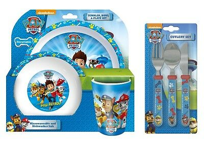 Paw Patrol | Chase | 6pc Tumbler, Bowl, Plate Set & Straight Cutlery | Mealtime