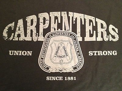 """UNITED BROTHERHOOD of CARPENTERS """"UNION STRONG SINCE 1881"""" SHIRT Made in USA  XL"""